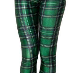 Women Green Plaid Leggings