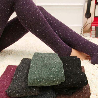 Women's Cotton Wool Leggings, Thicker Knitted, Sparkling Dot Design Autumn Legging