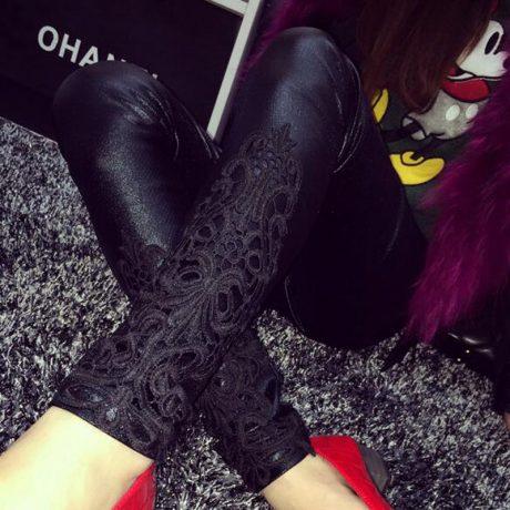 Faux Leather Leggings, Women's Lace Decoration Legging