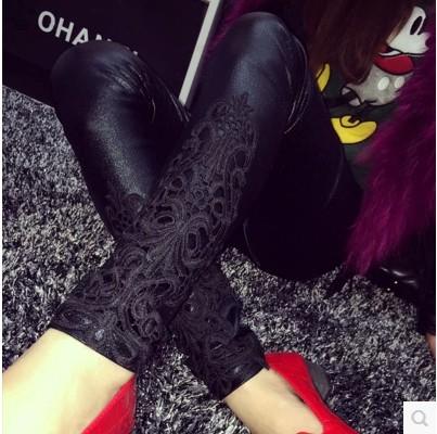 Faux Leather Leggings, Women's Lace Decoration Legging 1