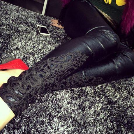 Faux Leather Leggings, Women's Lace Decoration Legging 3