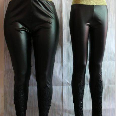 Faux Leather Leggings, Women's Lace Decoration Legging 4