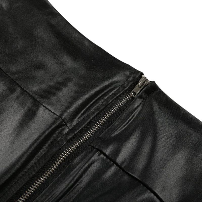 Black Sexy Women's Leggings, Thin Faux Leather Stretchy Leggings, Back Zipper Push Up Leggings 12