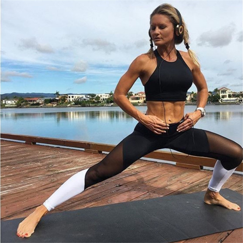 Casual Leggings Women Fitness Leggings Color Block Workout Pants New Arrival Mesh Insert Leggings 10