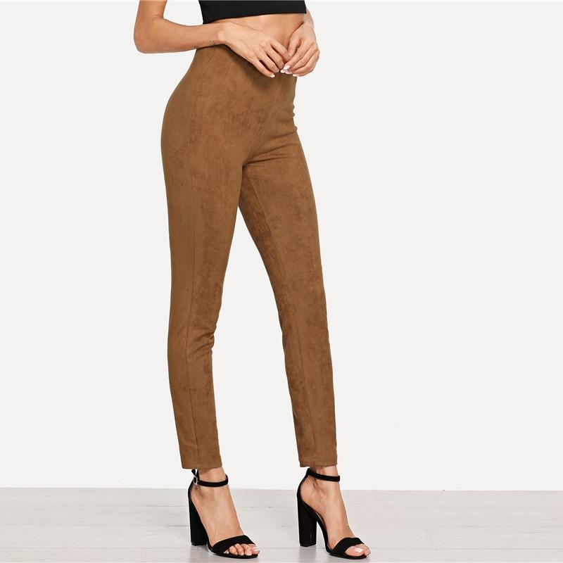 Brown Elegant Office Lady Solid Suede Leggings, 2018 High Street, Women, Pants 17