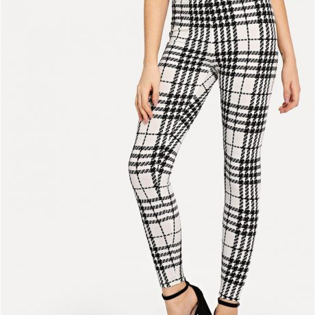 Women's Black And White Fashion High Street Plaid, High Waist Leggings, Women's Elegant Fashion Leggings Trousers 1
