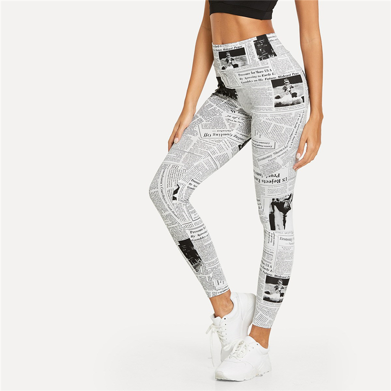 Black And White, High Street Newspaper Letter Print Street Wear Leggings, Women's Sexy Casual Leggings 15