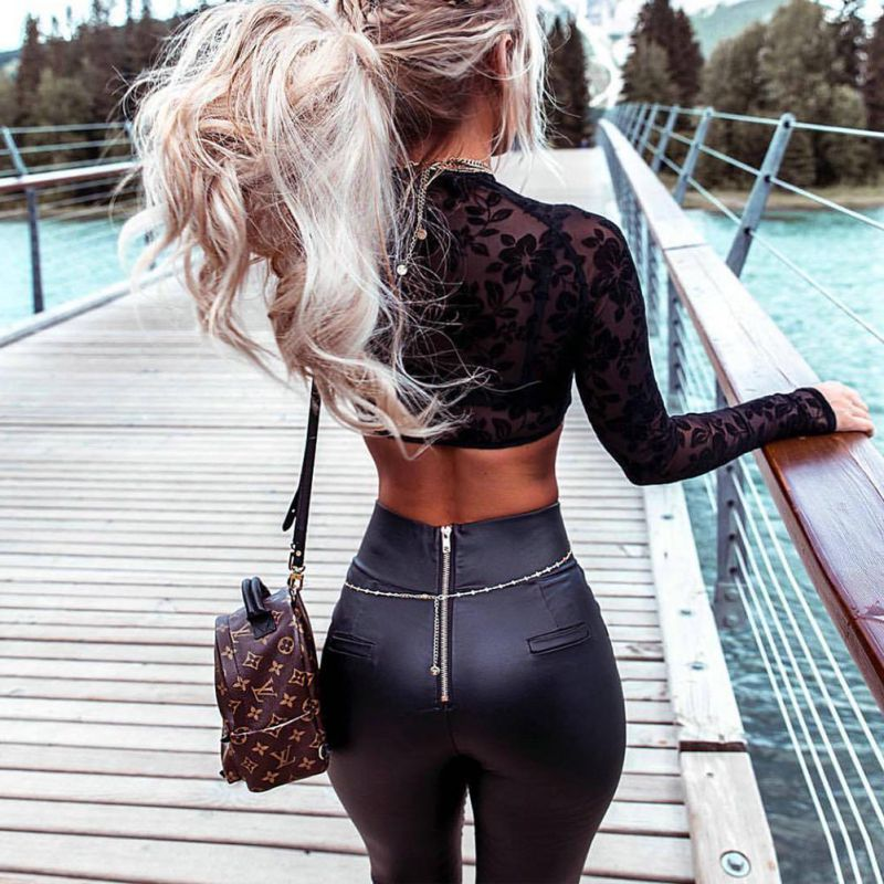 Black Sexy Women's Leggings, Thin Faux Leather Stretchy Leggings, Back Zipper Push Up Leggings 5