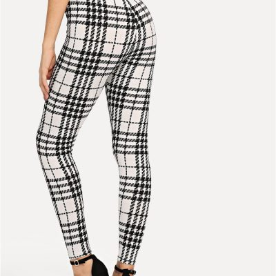 Women's Black And White Fashion High Street Plaid, High Waist Leggings, Women's Elegant Fashion Leggings Trousers