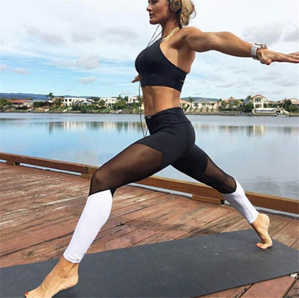 Casual Leggings Women Fitness Leggings Color Block Workout Pants New Arrival Mesh Insert Leggings 9