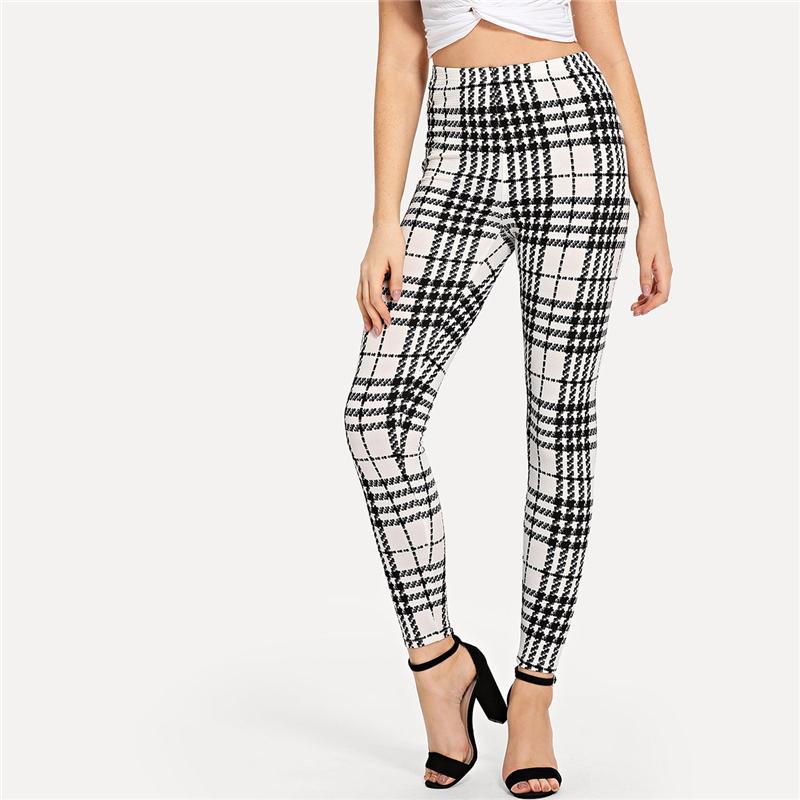 Women's Black And White Fashion High Street Plaid, High Waist Leggings, Women's Elegant Fashion Leggings Trousers 14