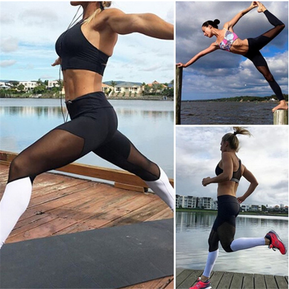 Casual Leggings Women Fitness Leggings Color Block Workout Pants New Arrival Mesh Insert Leggings 8