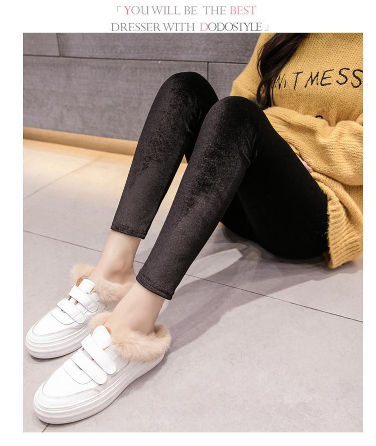 New Velour Thin Women's Leggings, Solid Color, High Waist Fashion Leggings 16