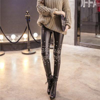 PU Leather Leggings, Women's Sequins Tide Punk Leggings, Rivets, Punk Leggings