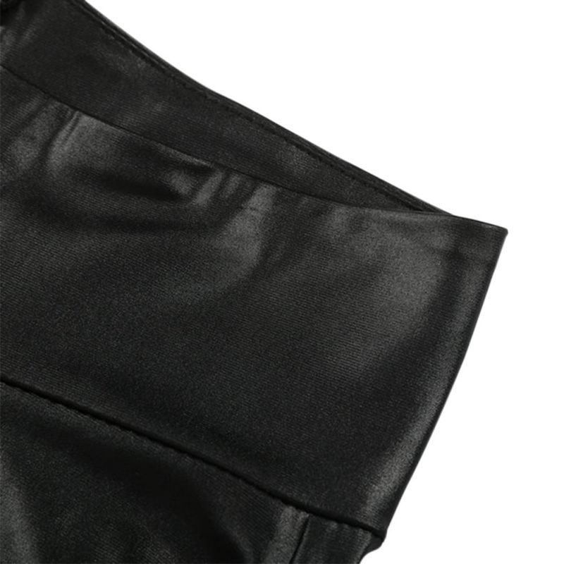 Black Sexy Women's Leggings, Thin Faux Leather Stretchy Leggings, Back Zipper Push Up Leggings 9
