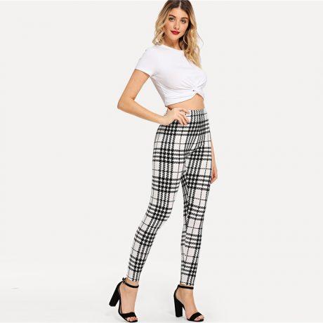 Women's Black And White Fashion High Street Plaid, High Waist Leggings, Women's Elegant Fashion Leggings Trousers