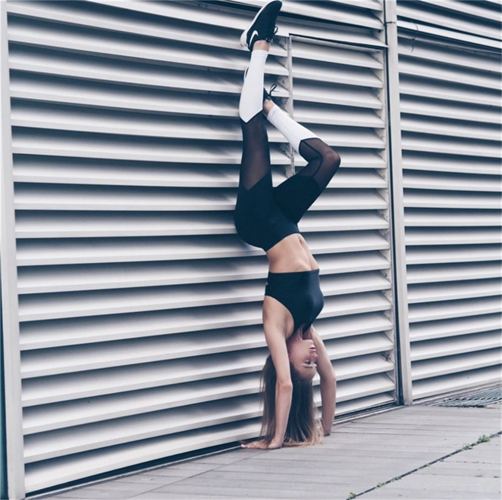 Casual Leggings Women Fitness Leggings Color Block Workout Pants New Arrival Mesh Insert Leggings 12