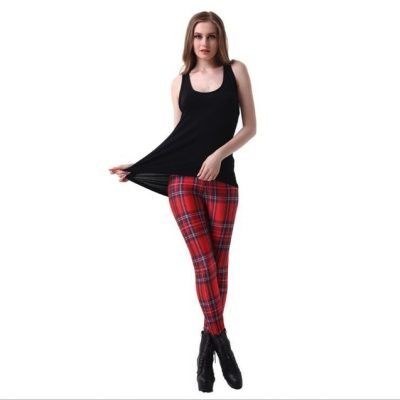 Plaid Women's Sexy Slim Leggings,Large Sizes, Plaid Full Length Pants