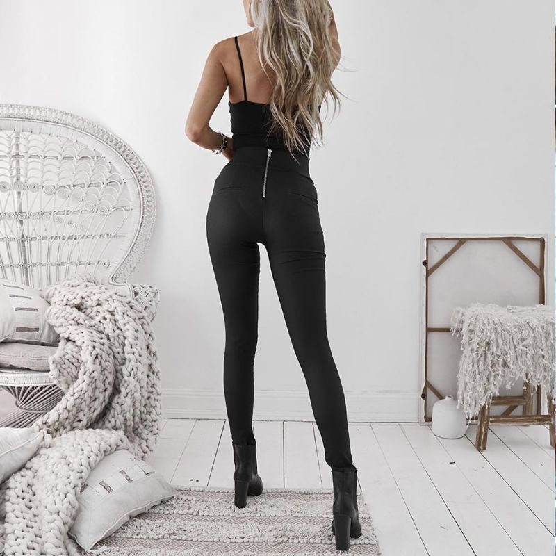 Black Sexy Women's Leggings, Thin Faux Leather Stretchy Leggings, Back Zipper Push Up Leggings 3