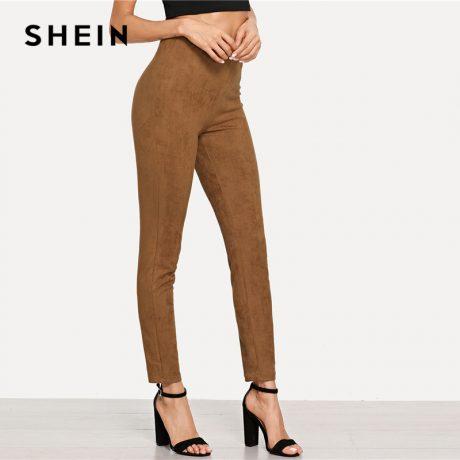 Brown Elegant Office Lady Solid Suede Leggings, 2018  High Street, Women, Pants 2