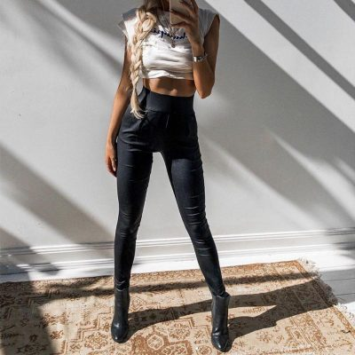 Black Sexy Women's Leggings, Thin Faux Leather Stretchy Leggings, Back Zipper Push Up Leggings