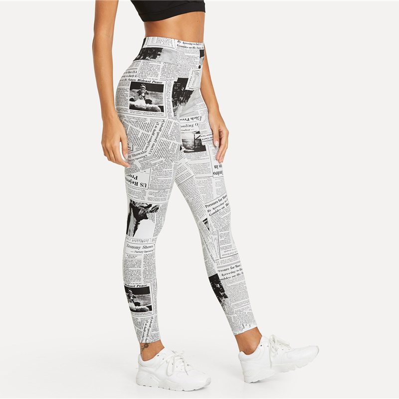 Black And White, High Street Newspaper Letter Print Street Wear Leggings, Women's Sexy Casual Leggings 16