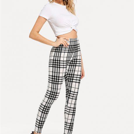 Women's Black And White Fashion High Street Plaid, High Waist Leggings, Women's Elegant Fashion Leggings Trousers 3