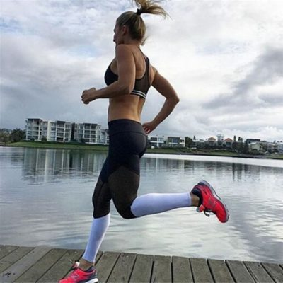Casual Leggings Women Fitness Leggings Color Block Workout Pants Mesh Insert Leggings