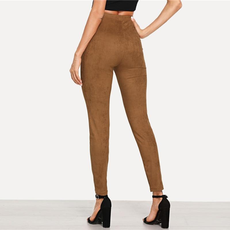 Brown Elegant Office Lady Solid Suede Leggings, 2018 High Street, Women, Pants 16