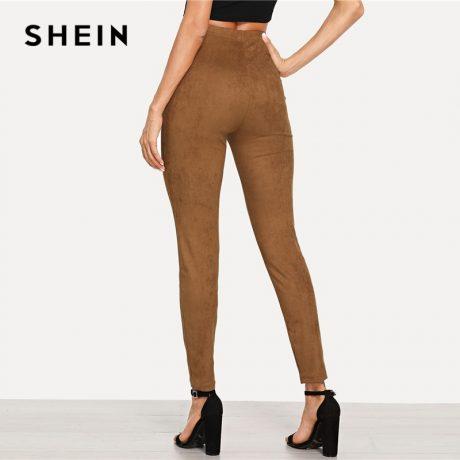 Brown Elegant Office Lady Solid Suede Leggings, 2018  High Street, Women, Pants 1