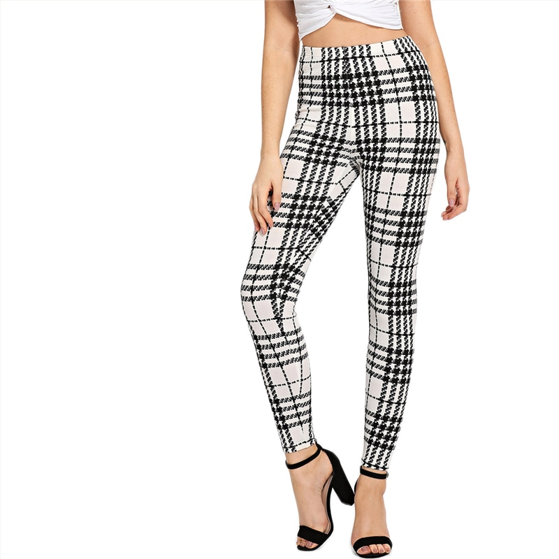 Women's Black And White Fashion High Street Plaid, High Waist Leggings, Women's Elegant Fashion Leggings Trousers 18