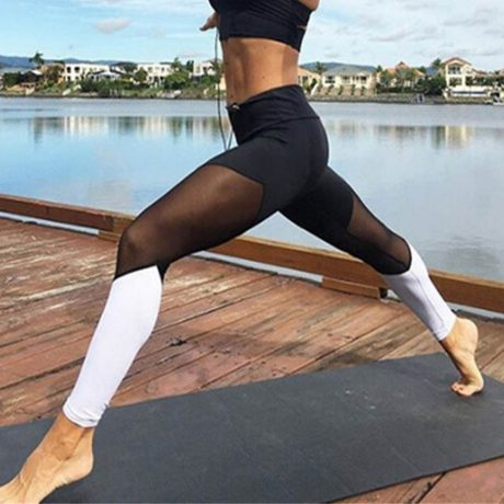Casual Leggings Women Fitness Leggings Color Block Workout Pants New Arrival Mesh Insert Leggings