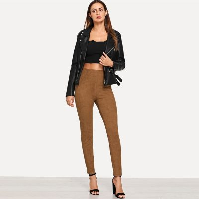 Brown Elegant Office Lady Solid Suede Leggings,  High Street, Women, Pants