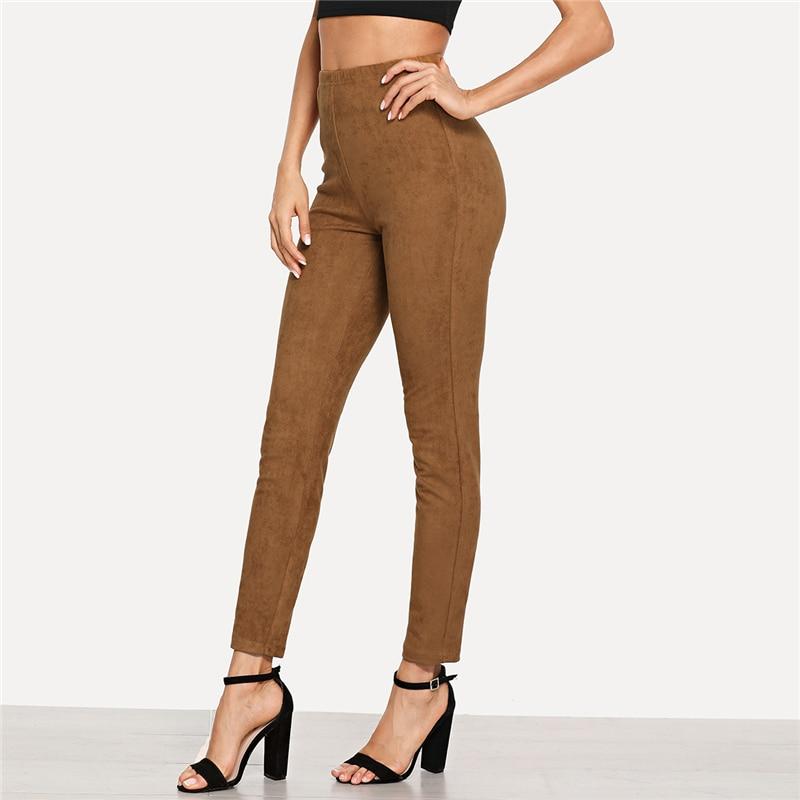 Brown Elegant Office Lady Solid Suede Leggings, 2018 High Street, Women, Pants 15