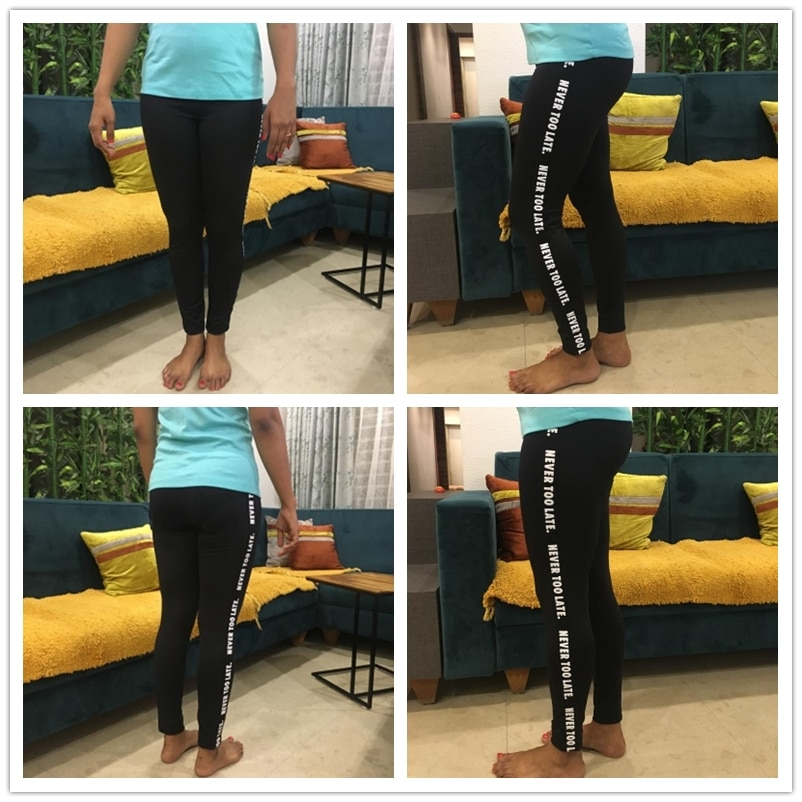 """Never To Late"" Letter Print Side Leggings, Stretchy Active Wear, Leggings Women's Sporting Leggings 14"