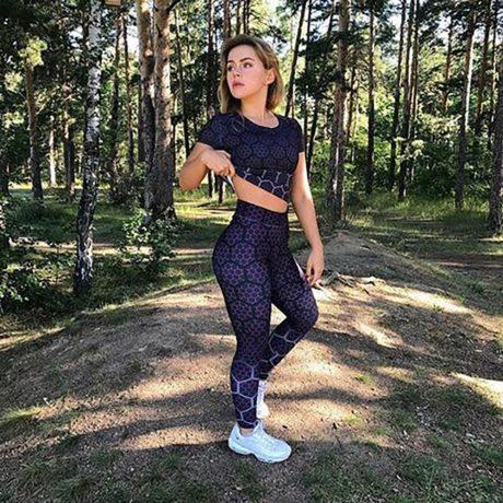 New Sports Leggings, Women's Sportswear Purple Honeycomb Pattern, Polyester High Waist Leggings 2