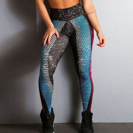 New Honeycomb Letter Printed Women's Fitness Leggings, High Waist, Elastic Push Up Legging Workout  Leggings 2