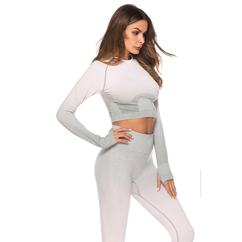Seamless High Waist Quick-Drying Breathable Stretch Sets Fitness Push Up Female 2 Piece Set Gradient Color Elastic Clothes Sets 20