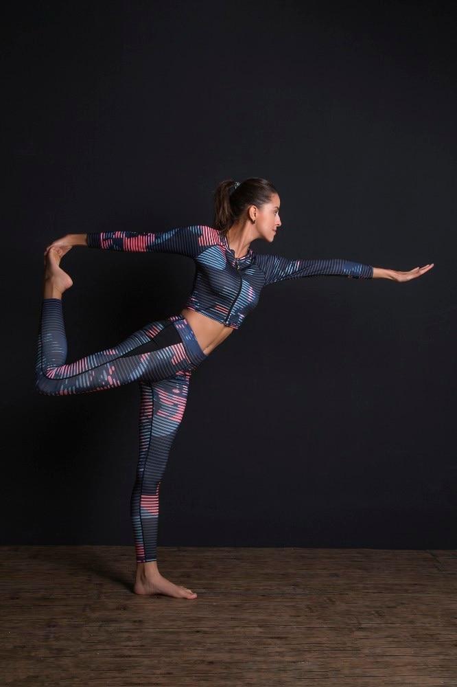 New Sport Suit Print Fitness Suit Leggings Breathable Yoga Set 2 Piece Zipper Sportswear T-shirt Sport Pants Tracksuit For Women 9