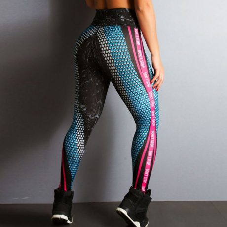 New Honeycomb Letter Printed Women's Fitness Leggings, High Waist, Elastic Push Up Legging Workout  Leggings 3