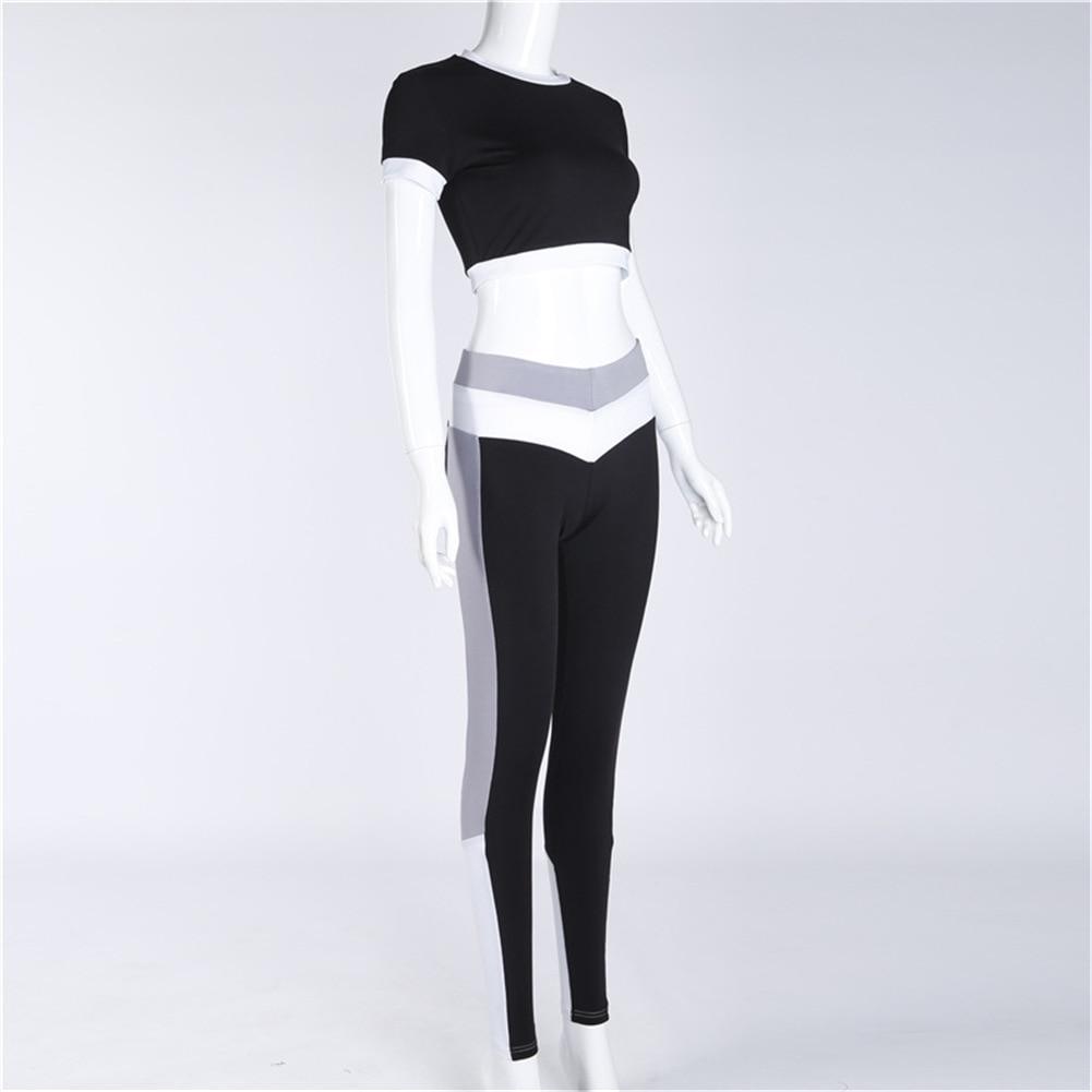 2Pcs Womens Compression Fitness Leggings Running Sport Short Sleeve Yoga Set Gym Workout Wear Top Pants Yoga Suit 9