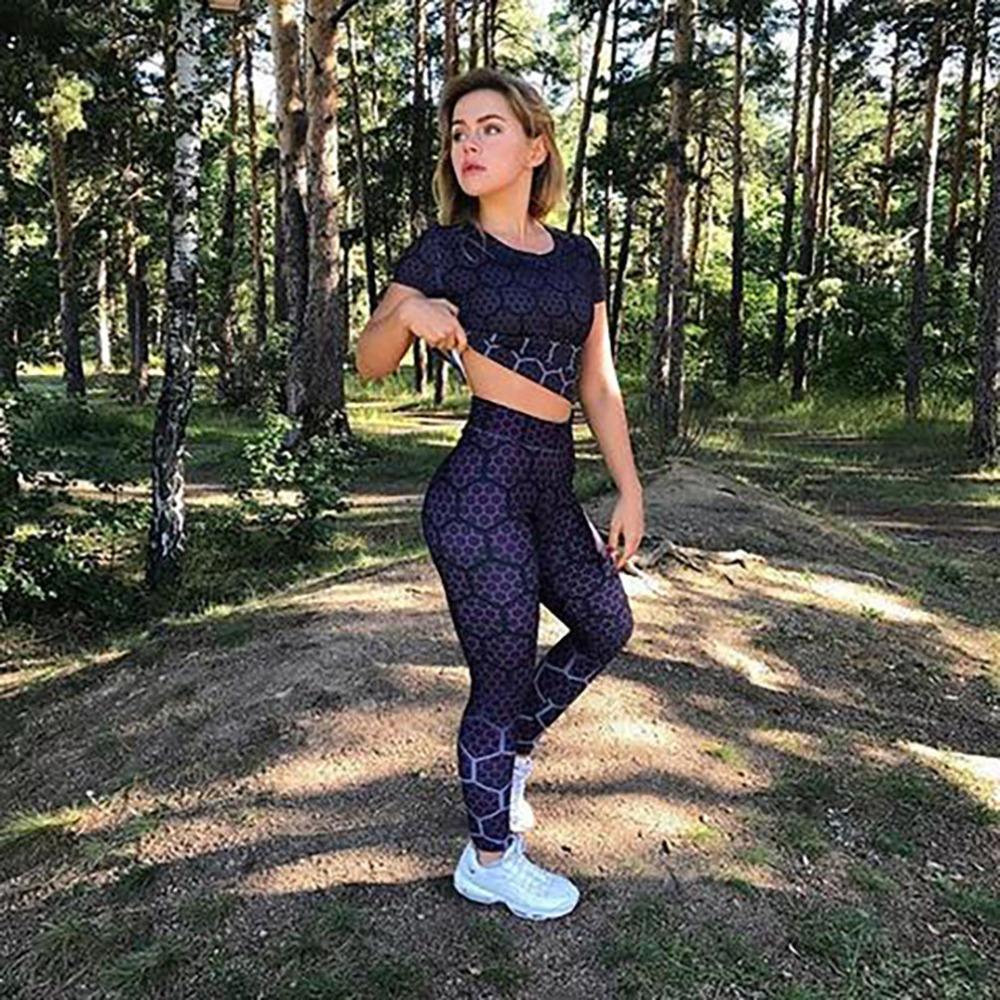 New Sports Leggings, Women's Sportswear Purple Honeycomb Pattern, Polyester High Waist Leggings 6