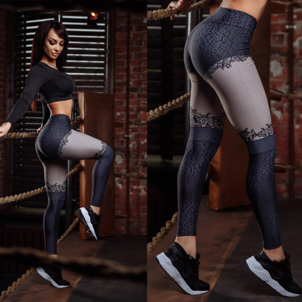 Fashion Patchwork High Waist Lace Spot Pattern Digital Printing Leggings Push Up Elastic Force Breathable Polyester Leggings 12