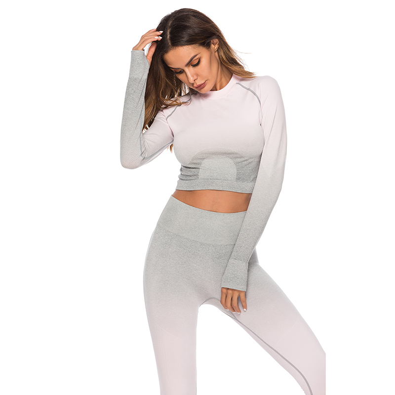 Seamless High Waist Quick-Drying Breathable Stretch Sets Fitness Push Up Female 2 Piece Set Gradient Color Elastic Clothes Sets 21