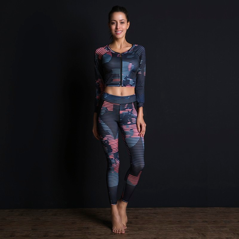 New Sport Suit Print Fitness Suit Leggings Breathable Yoga Set 2 Piece Zipper Sportswear T-shirt Sport Pants Tracksuit For Women 5