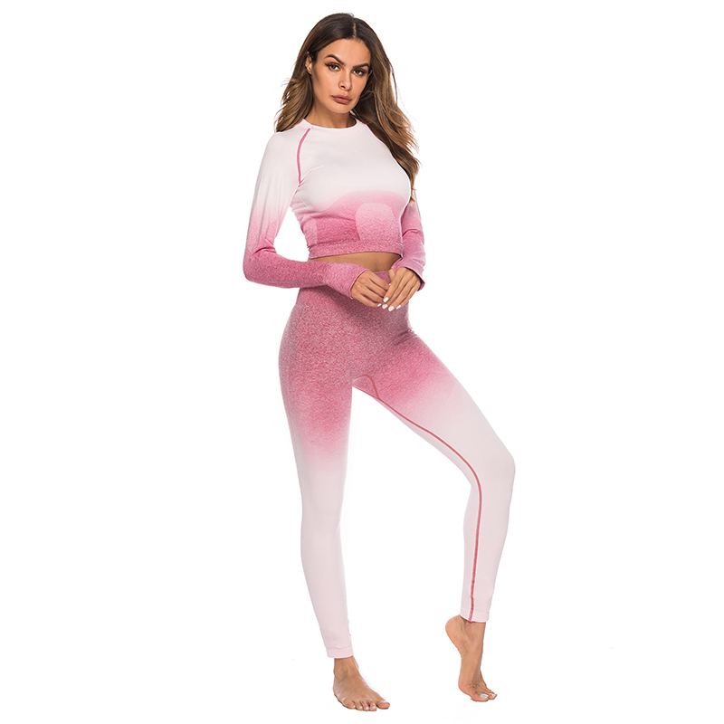 Seamless High Waist Quick-Drying Breathable Stretch Sets Fitness Push Up Female 2 Piece Set Gradient Color Elastic Clothes Sets 26