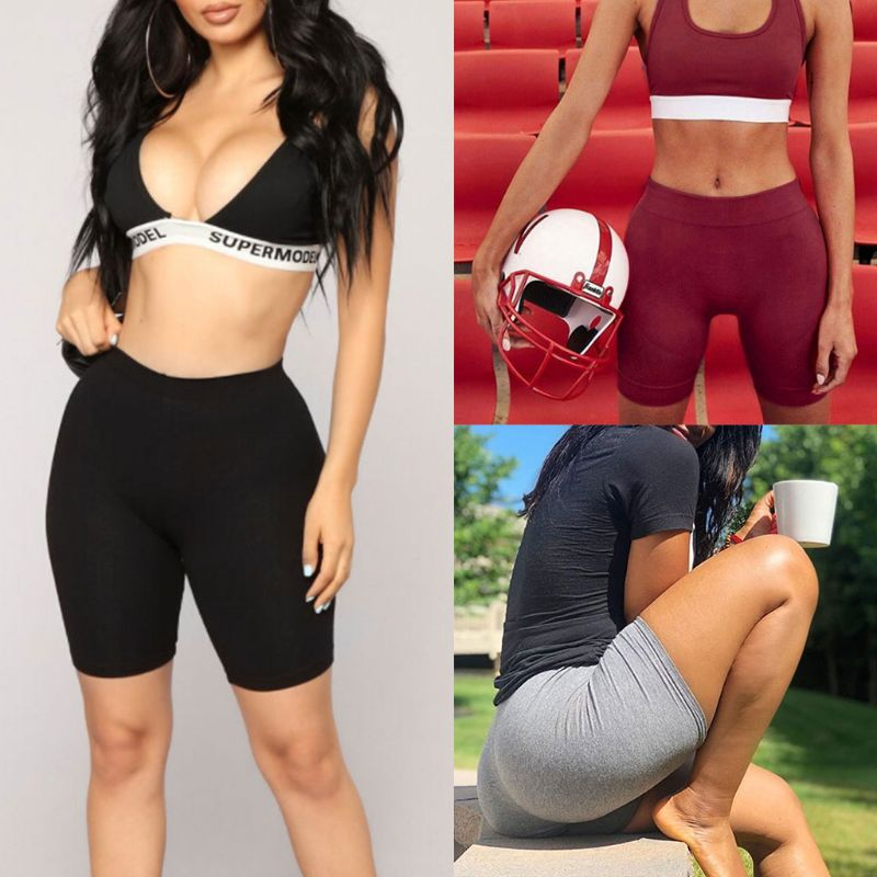 Women's Sport Fitness Leggings, Above Knee, High Waist, Workout Or Bike Shorts 10