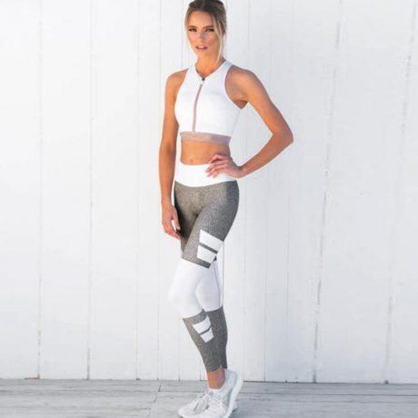 Women's Fitness Clothing, Mesh High Waist Leggings, Female Breathable Patchwork Sportswear 1
