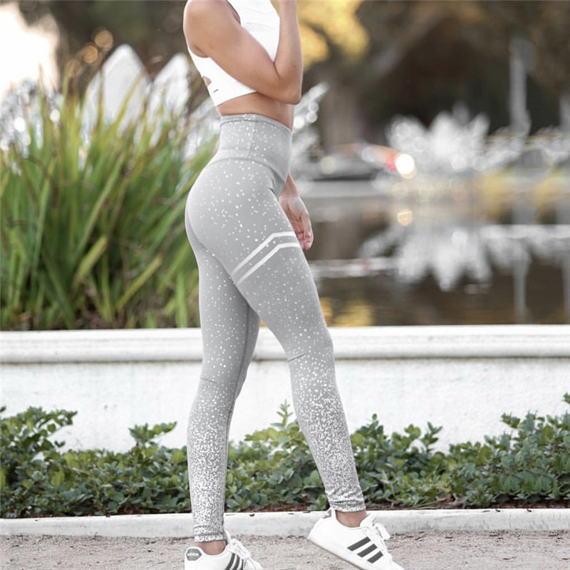 New Stretch Bronzing Print Leggings, Women Workout Leggings, High Waist Pants 12